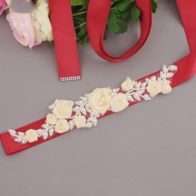 Women's Bridal Wedding Dress Rhinestone Sash Maternity Sash Belt Flower  Sash