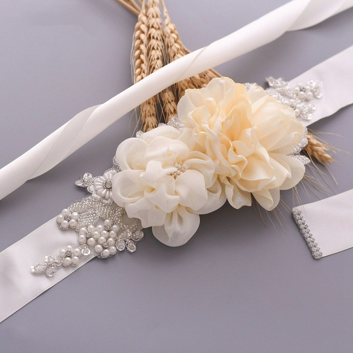 Floral Bridal Maternity Sash Belt – Satin Ribbon Belly Band for Wedding Pregnant