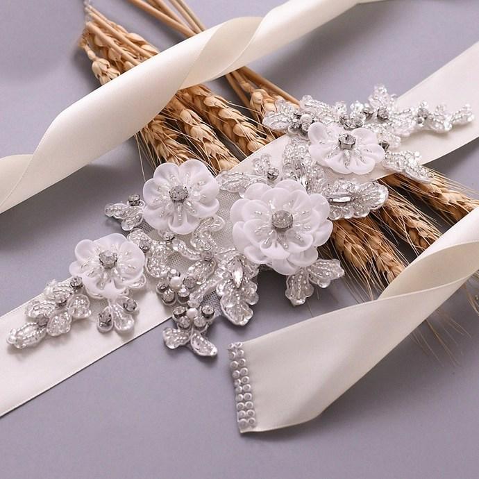 Women's Rhinestones Bridal Sash Bridal Belt Floral Wedding Belt Wedding