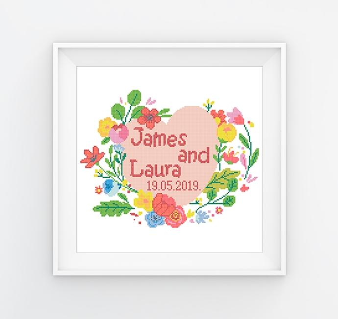 #556 Wedding cross stitch pattern Mr and Mrs cross stitch Wedding Anniversary