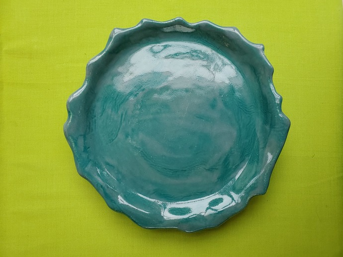 "Hand painted teal footed platter 9"" diameter"