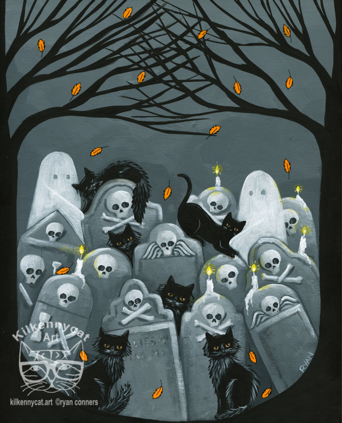 Black Cats in the Cemetery 2 Original Halloween Cat Folk Art Painting