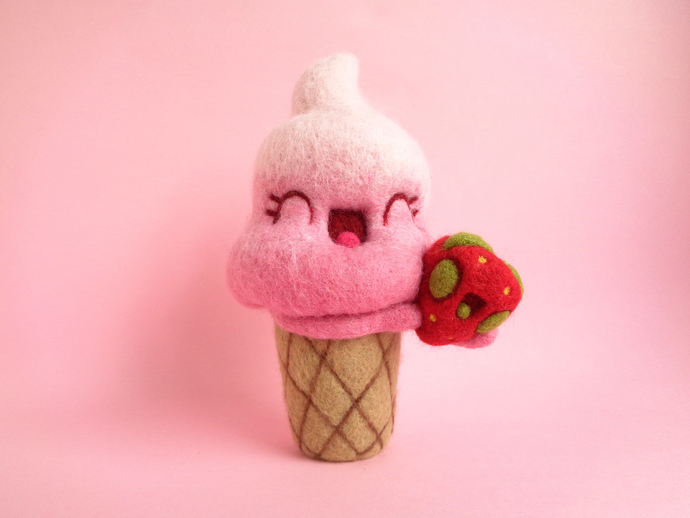 Connie and Strawberry II, soft served pink ice cream with strawberry art toy,