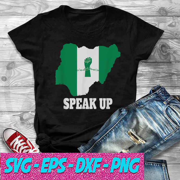 Nigeria Fist in Chains Speak Up SVG , EPS , DXF , PNG DIGITAL DOWNLOAD