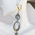 Statement Mother of Pearl long earrings with green glass pearls, choice of