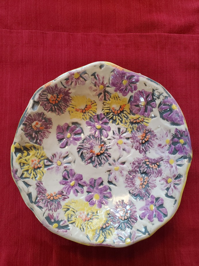 """Hand painted/stamped  footed bowl  9 1/2"""" diameter, 2 1/2"""" high"""