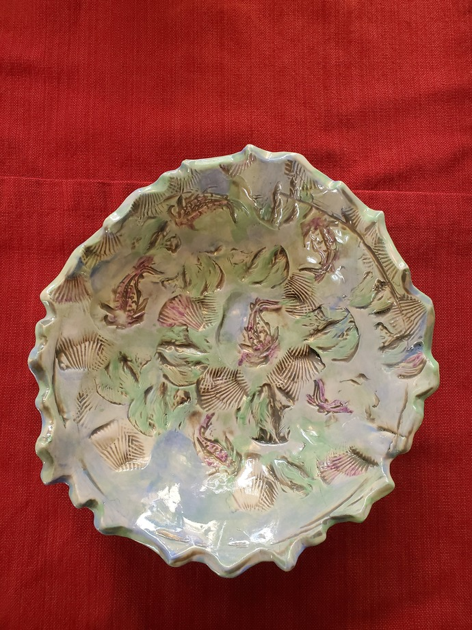 """Hand painted/stamped footed """"fish & shell"""" bowl with wavy edge 10"""" diameter, 2"""