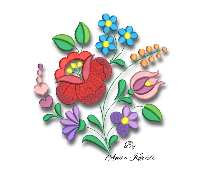 Machine embroidery designs kalocsa flower folk Hungarian pes