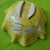 "Hand painted yellow ""leaf"" footed bowl 10"" diameter, 4"" high"