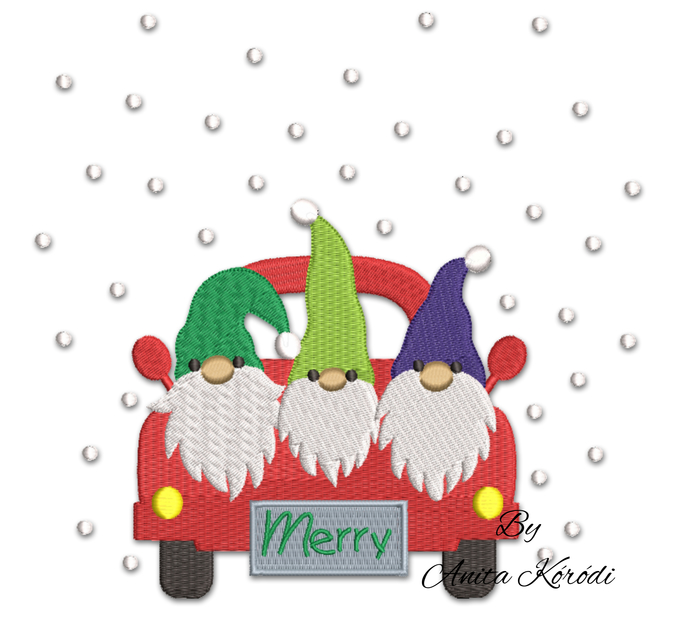 Christmas gnomes embroidery machine design pes truck pe instant digital download