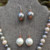 Handmade Glass Pearl and Copper Jewelry Set - Necklace, Two Pairs Earrings