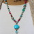 Colorful Whimsical Beaded Necklace, Turquoise Pendant, Turquoise Jewelry,