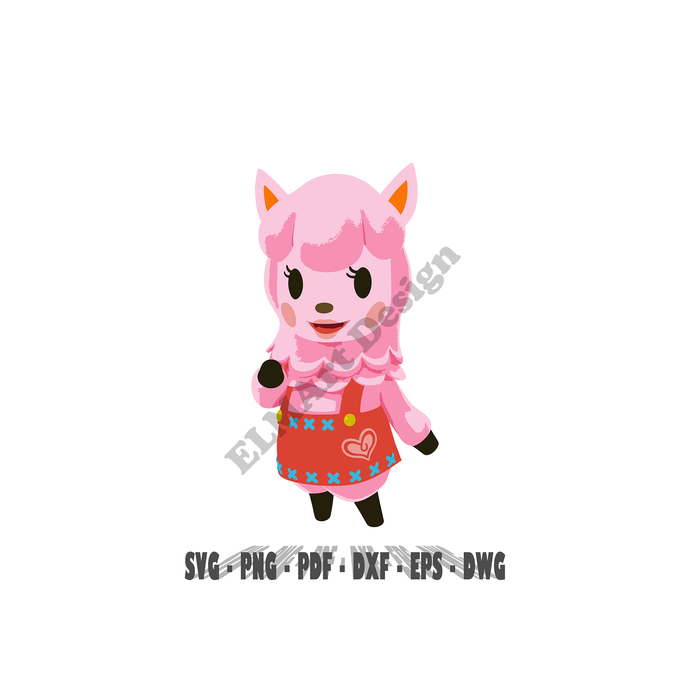 Animal Crossing Alpaca vector design 6 digital files Svg Png Pdf Dxf Dwg Eps for