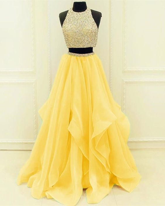 Sequined Beaded Top Organza Layered Prom Dresses Two Piece Prom Dress,Sexy Party