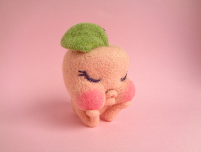 Peacherette, a sweet peach girl, needle felted art toy, peach art toy, felted