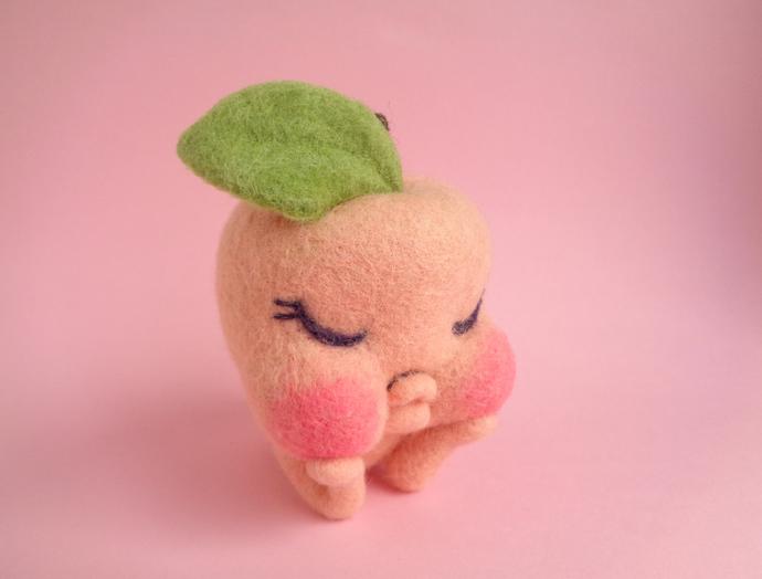 Peacherette, a sweet peach girl, needle felted art toy, peach art toy, felted