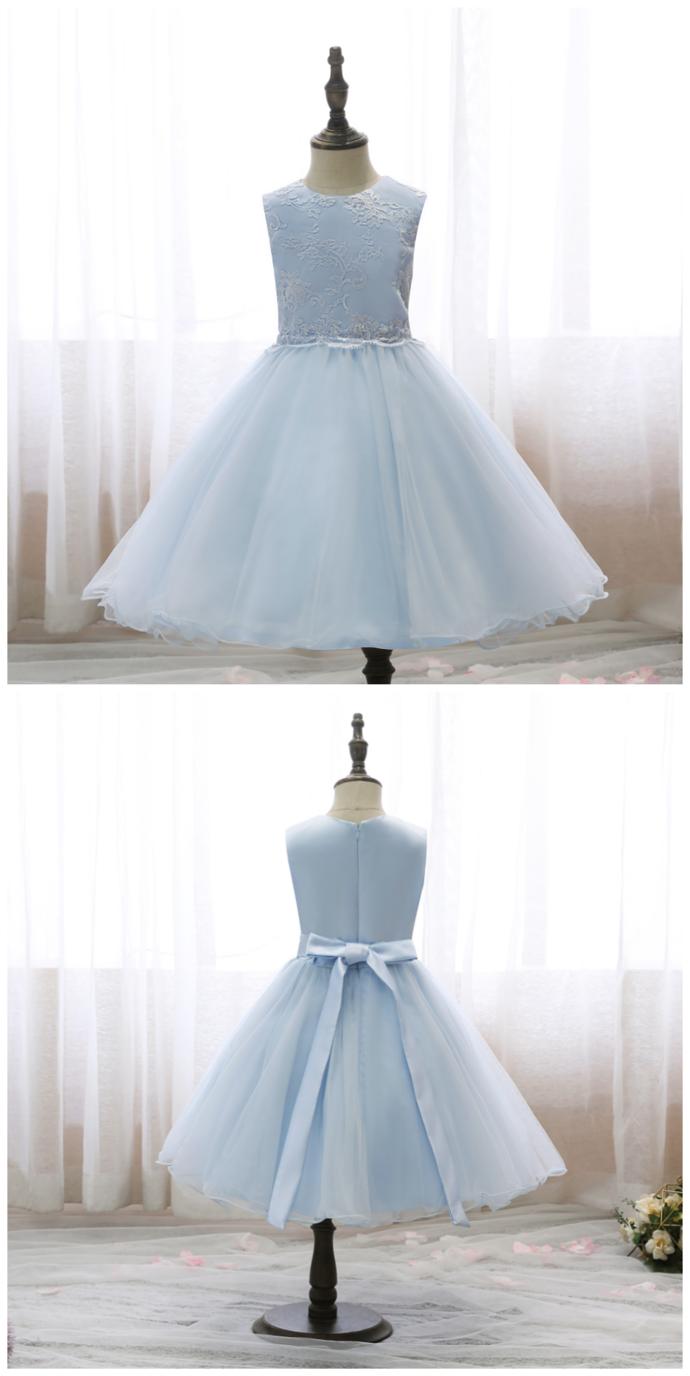 Flower Girls Dresses Kids Dresses For Girls Elegant Princess Embroidered Bow