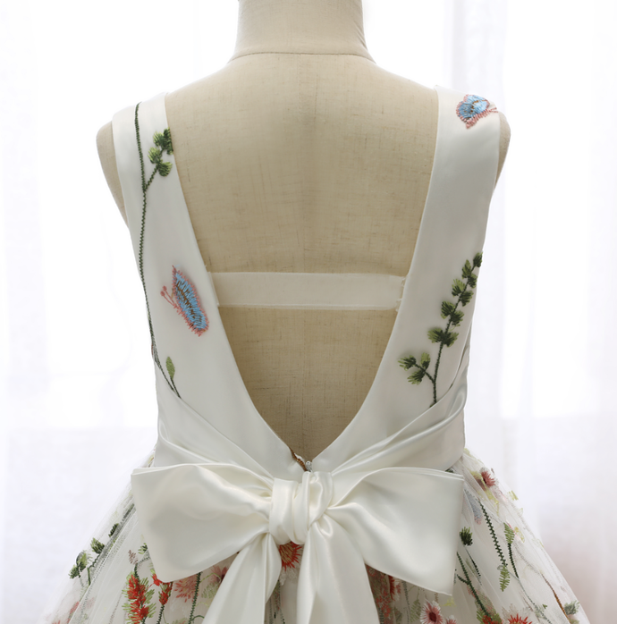Flower Girl Dresses Kids Printed Dresses Sleeveless Backless Bow V-Neck Evening