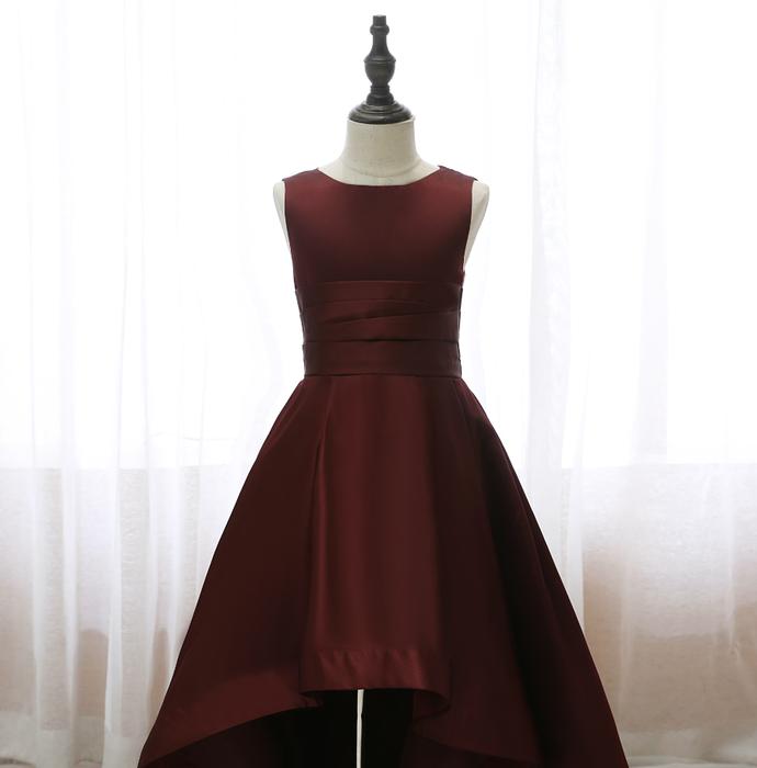 Flower Girl Dresses Sleeveless Big Swing Irregular Tail Solid Color Dress