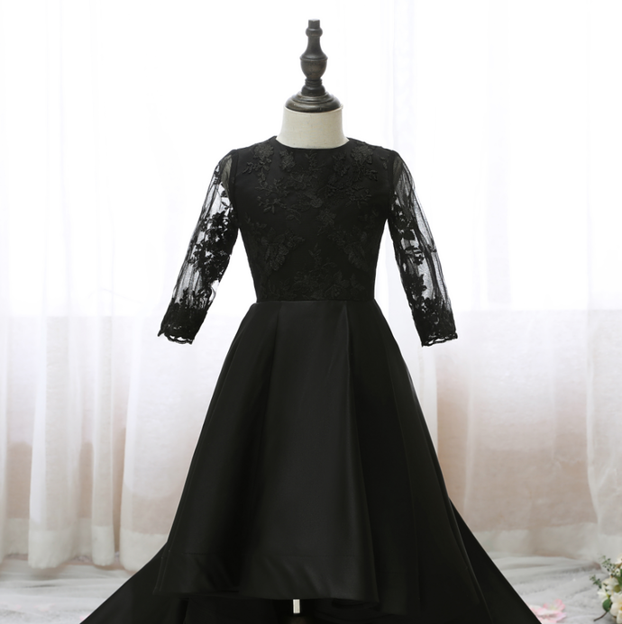 Flower Girl Dresses Kids Girls Party Dress Black Long Sleeve Big Swing