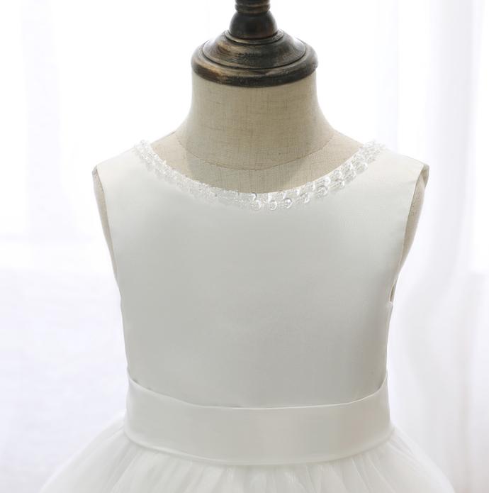 Flower Girl Dresses Lace Tailing Gauze Bow Sleeveless Costume Wedding Party