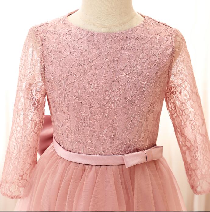 Flower Girl Dresses Girl Banquet Party Dress Embroidered Mesh Princess Ball
