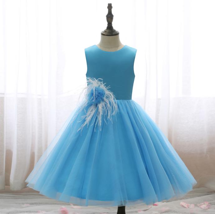 Flower Girls Dresses Girls Wedding Dress Princess Dress Solid Color Flower Slim