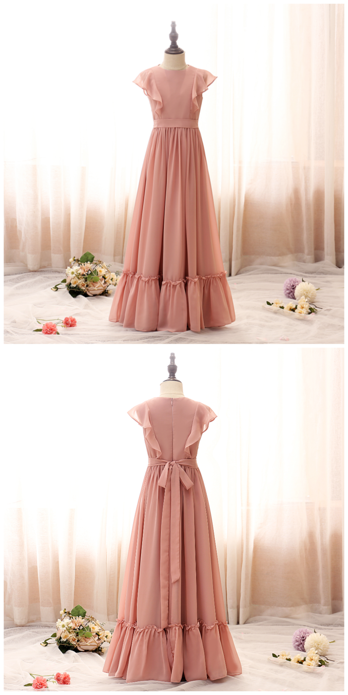 Lovely Flower Girl Dresses Petal Sleeves chiffon 2021 Solid Color Princess