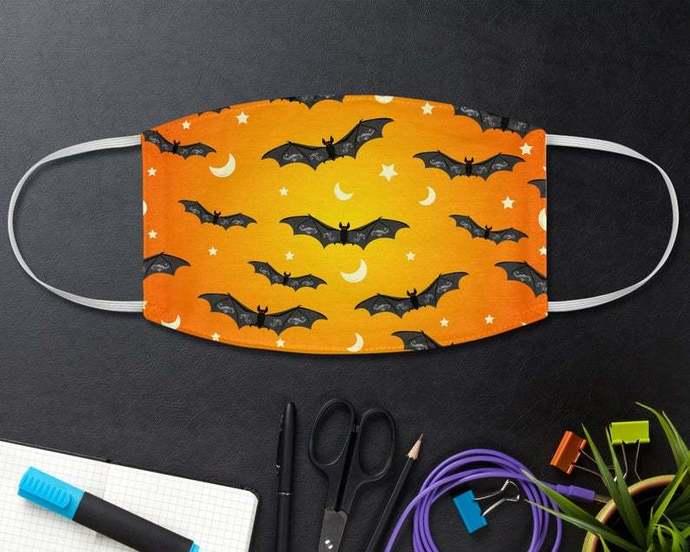 Halloween Black Bats Pattern Face Mask, Spooky Halloween, Halloween Gift, Horror