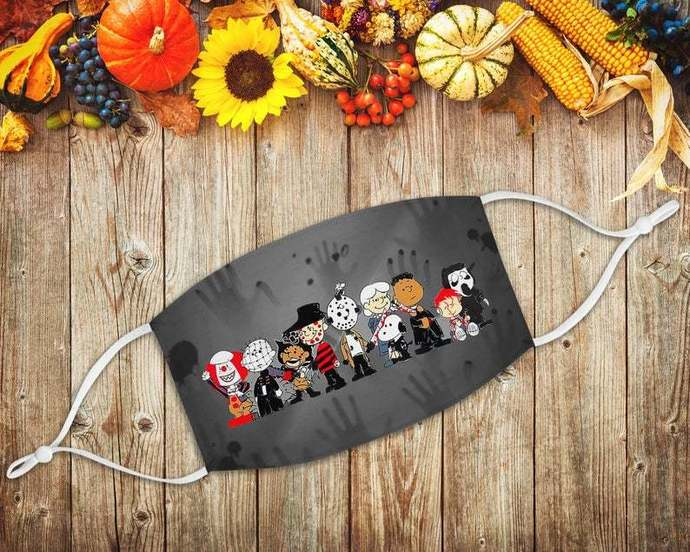 Chibi Charlie Snoopy Friends Horror Face Mask, Horror Characters, Peanuts Fans