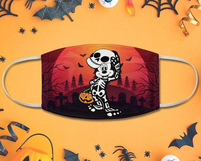 Halloween Mickey Skeleton Fabric Face Mask, Mickey Mouse, Jack O Lantern