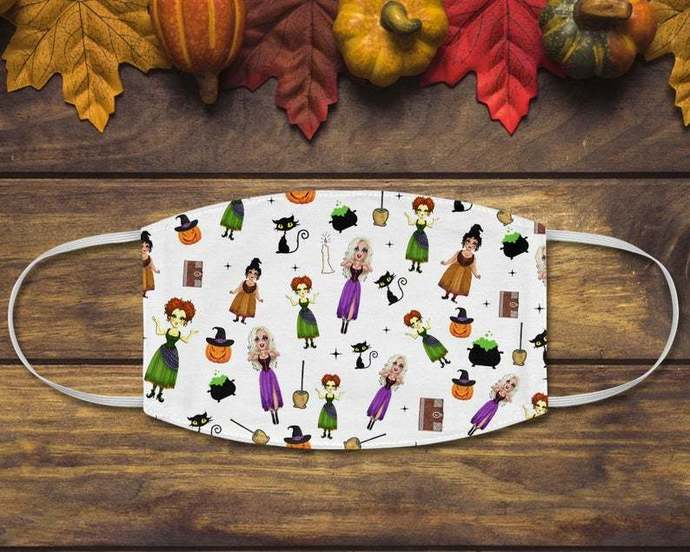 Halloween Disney Hocus Pocus Face Mask, Sanderson Sisters Mask, Witch Season,