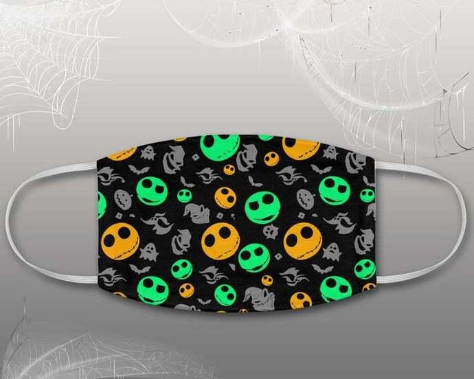 Jack Skellington Zero Oogie Boogie Pattern Face Mask, Halloween Disney Mask,