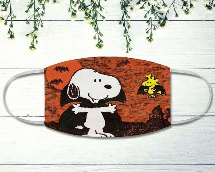 Dracula Snoopy Woodstock Halloween Face Mask, Snoopy Vampire, The Peanuts Fan
