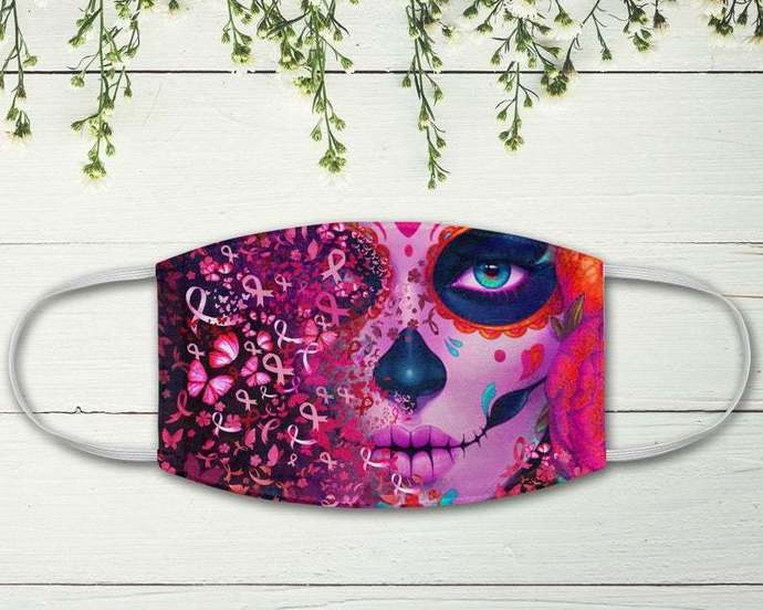 La Catrina Butterflies Pink Ribbons Face Mask, Breast Cancer Awareness Month,