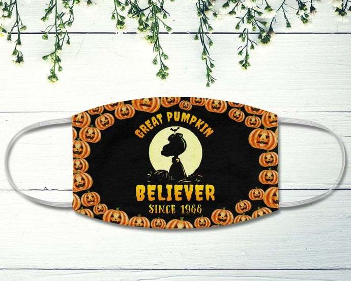 Snoopy Face Mask, Great Pumpkin Believer Since 1966, Snoopy Lover, Halloween