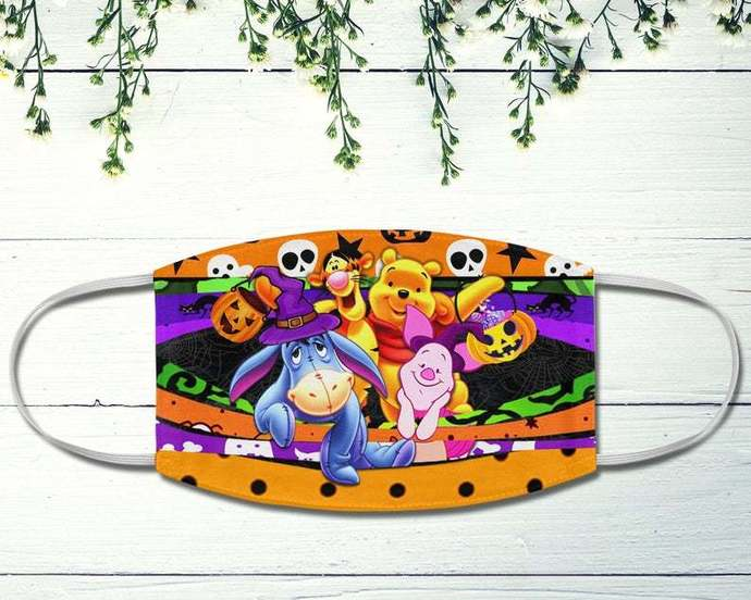 Halloween Winnie The Pooh Fabric Face Mask, Halloween Disney Gift, Disney Fans,