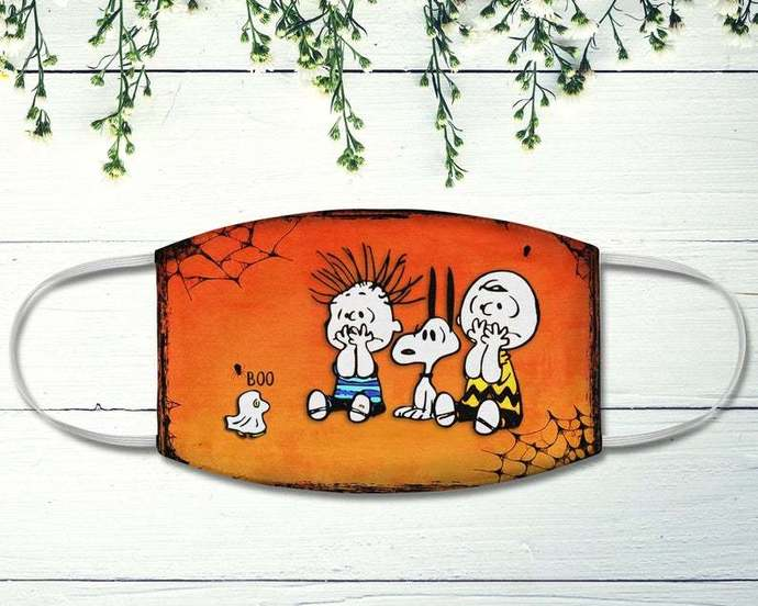 Charlie Snoopy Face Mask, Woodstock Boo, Halloween Face Mask, Snoopy Lover,