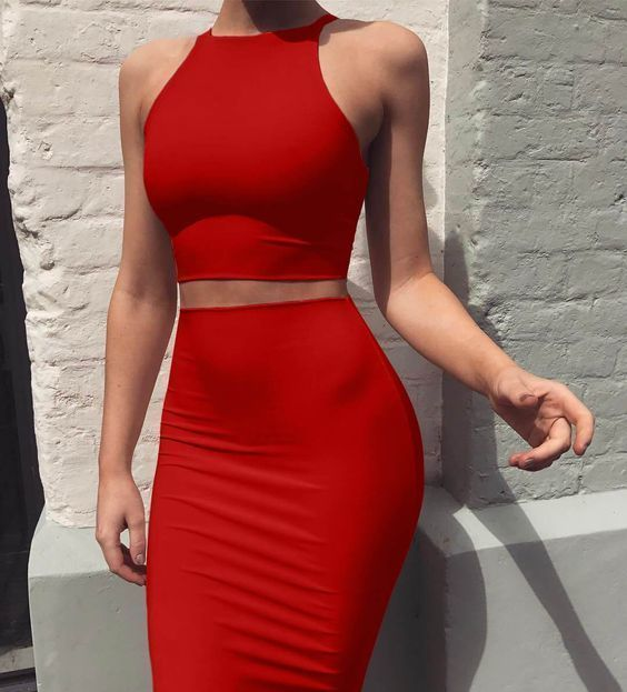 Sexy Top High Waist Two Pieces Prom Dress,Sexy Party Dress,Formal Dress,Cheap
