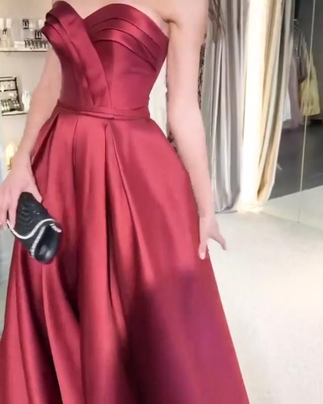 Burgundy satin prom ball gown,Sexy Party Dress,Formal Dress,Cheap Prom