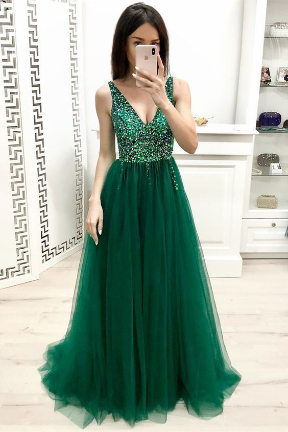 Elegant V Neck Green Beading Long Prom Dress long prom dress,Sexy Party