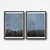 Contemporary Wall Art, Modern Art, Landscape blue brown diptych , Gray set of 2,
