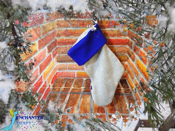 kawaii R2D2 Christmas Stocking Handmade fleece and flannel for star wars fan
