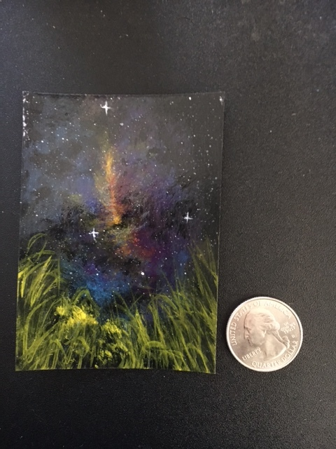 Space acrylic painting ACEO stars original unique nebula by Dawn Blair