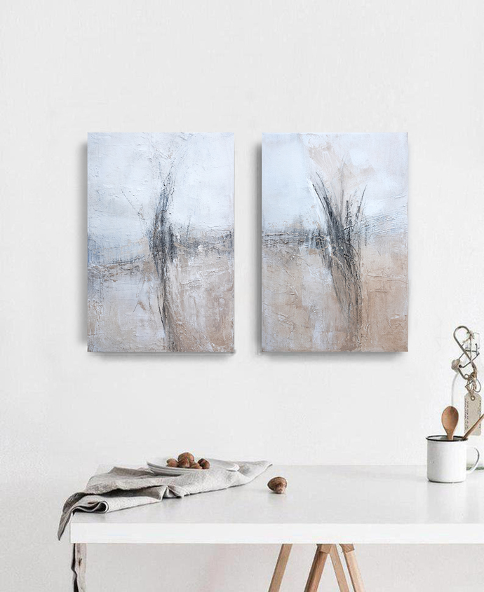 set of 2, Original Art, Neutral abstract , set of 2 neutral art, beige black
