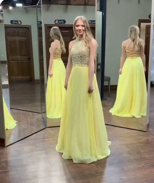 yellow chiffon long prom dress with beaded top and lace up back,long prom