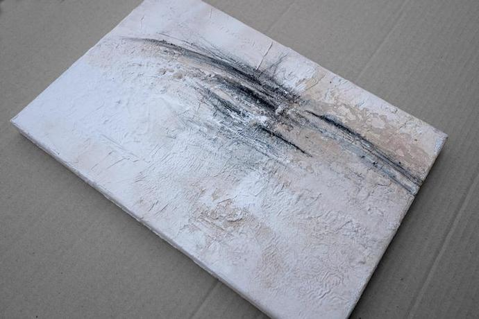 abstract painting, canvas art, white painting , small painting, modern art 12x8