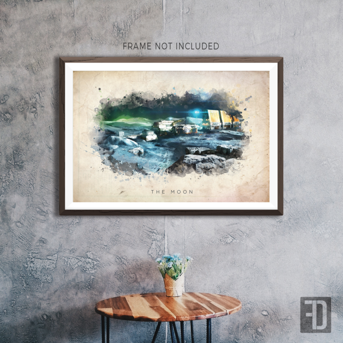 Destiny - The Moon Watercolor Abstract Art Print