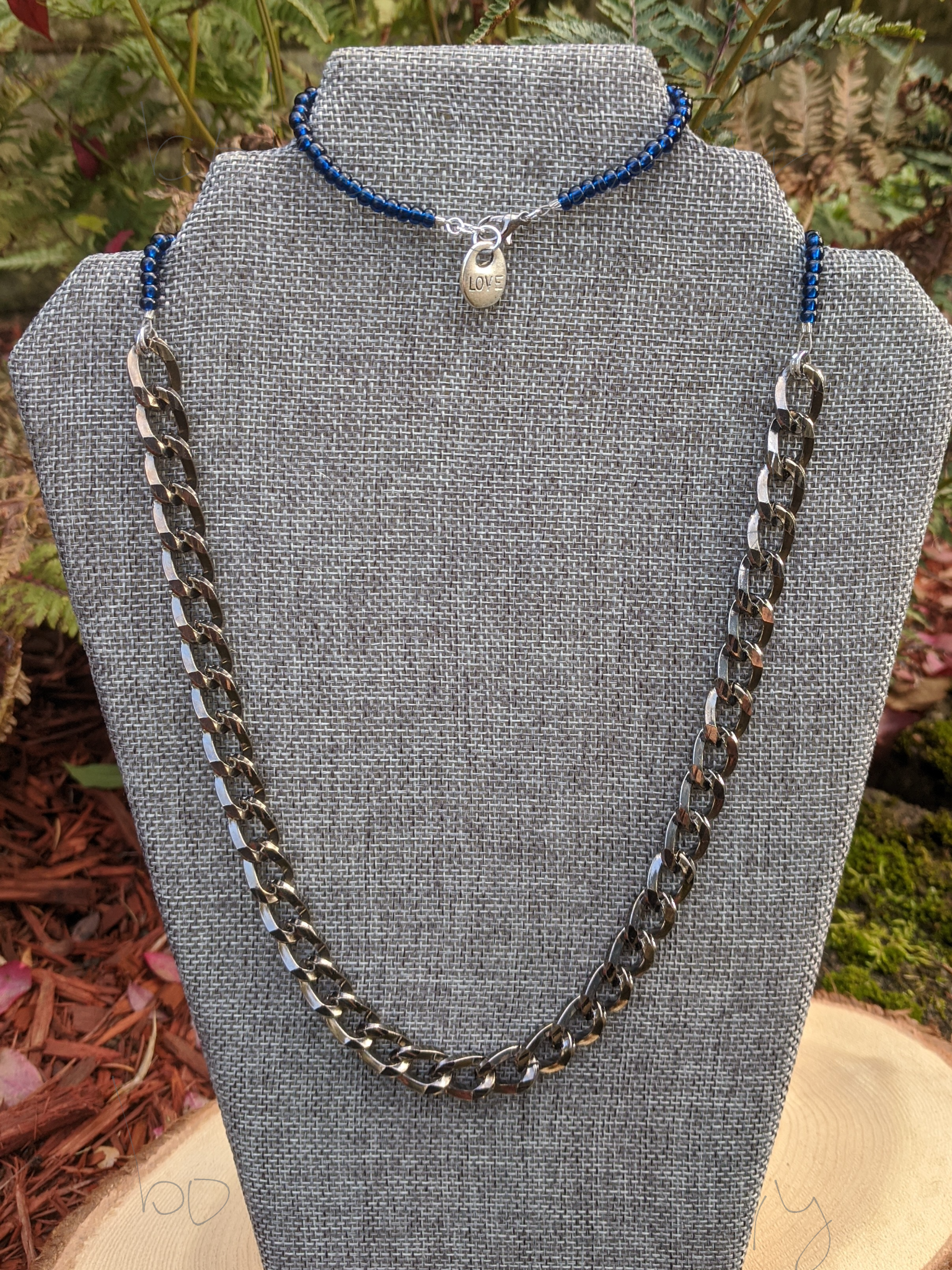Handmade Blue and Dark Silver Jewelry Set - Bracelet and Necklace