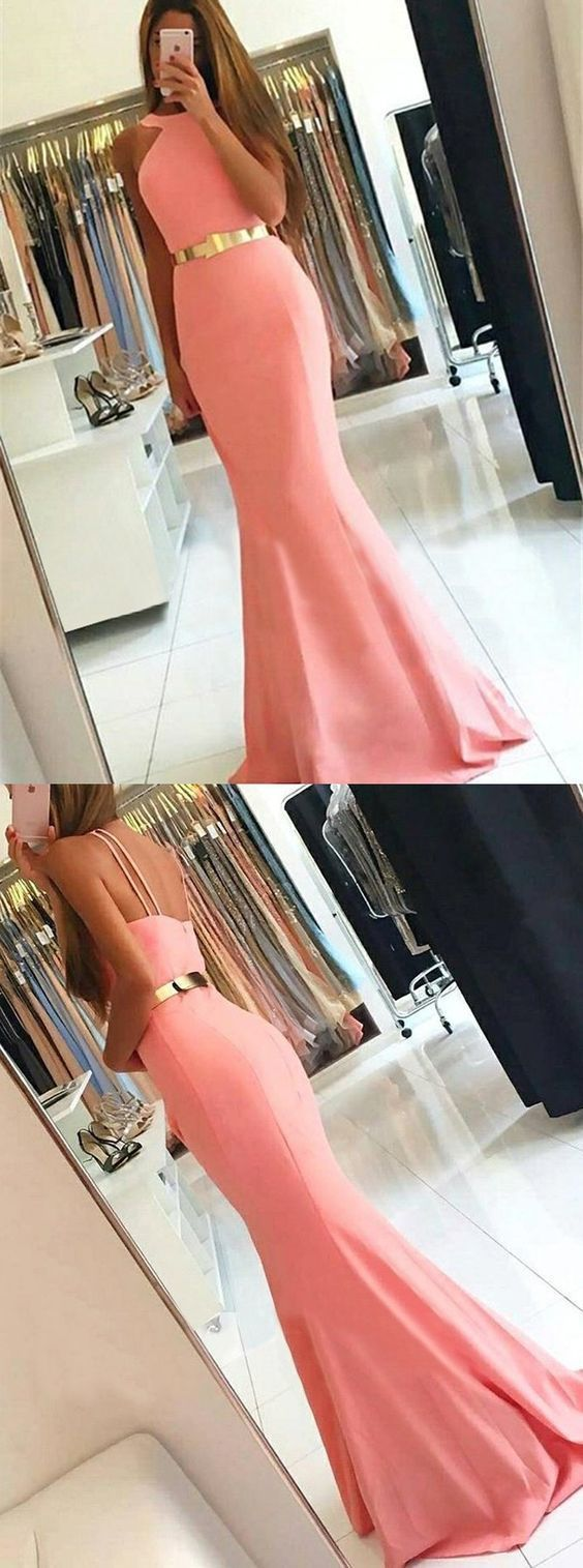 Pink Mermaid Prom Party Dresses, Simple Fashion Formal Evening Gowns  M5942